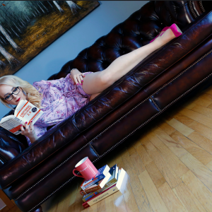 Love reading on my cozy sofa